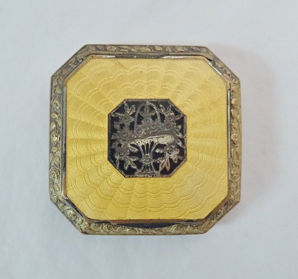Silver and Enamel Guilloche Compact