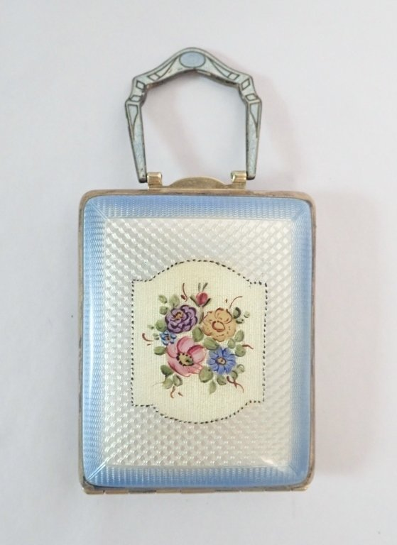 Art Deco Guilloche Enamel Compact Case