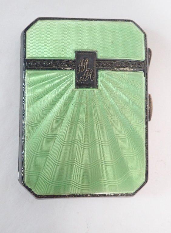 Guilloche Enamel & Silver Art Deco Cigarette Case