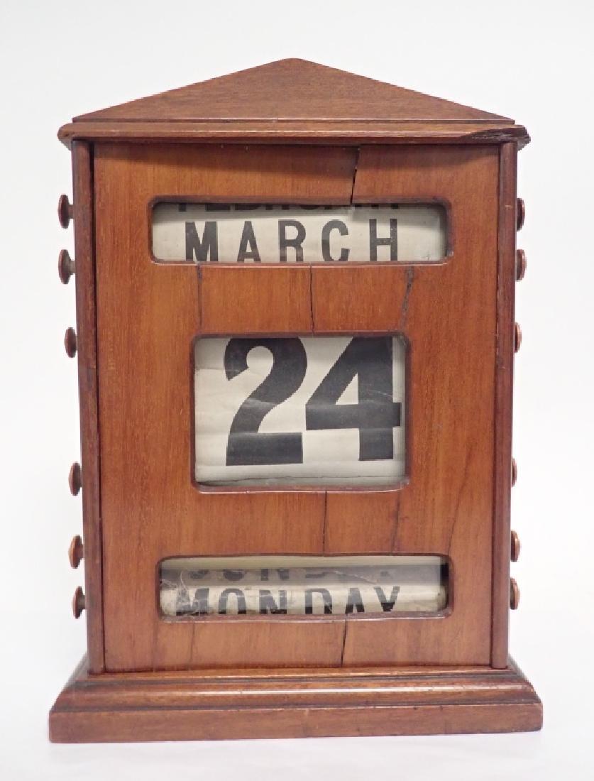 Antique Wood Perpetual Desk Calendar