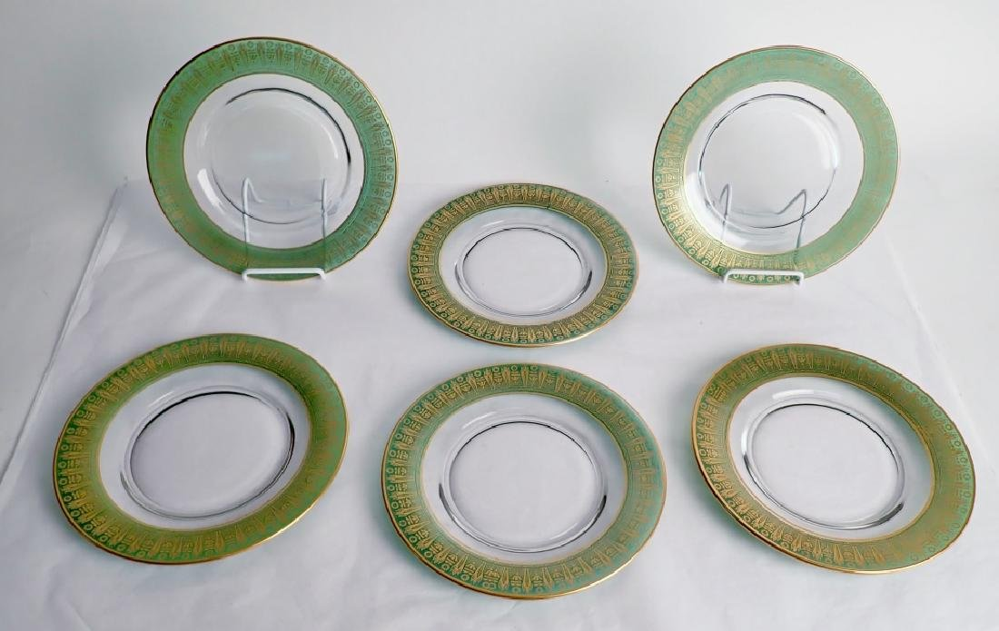 Vintage Gilt & Green Glass Plates