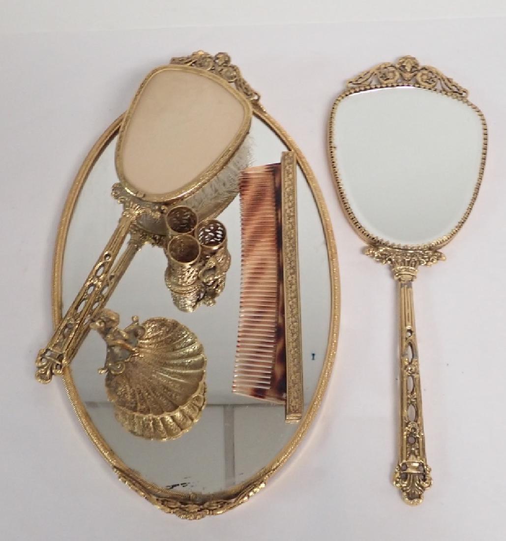 Antique Bronze Dresser Set with Mirror Tray