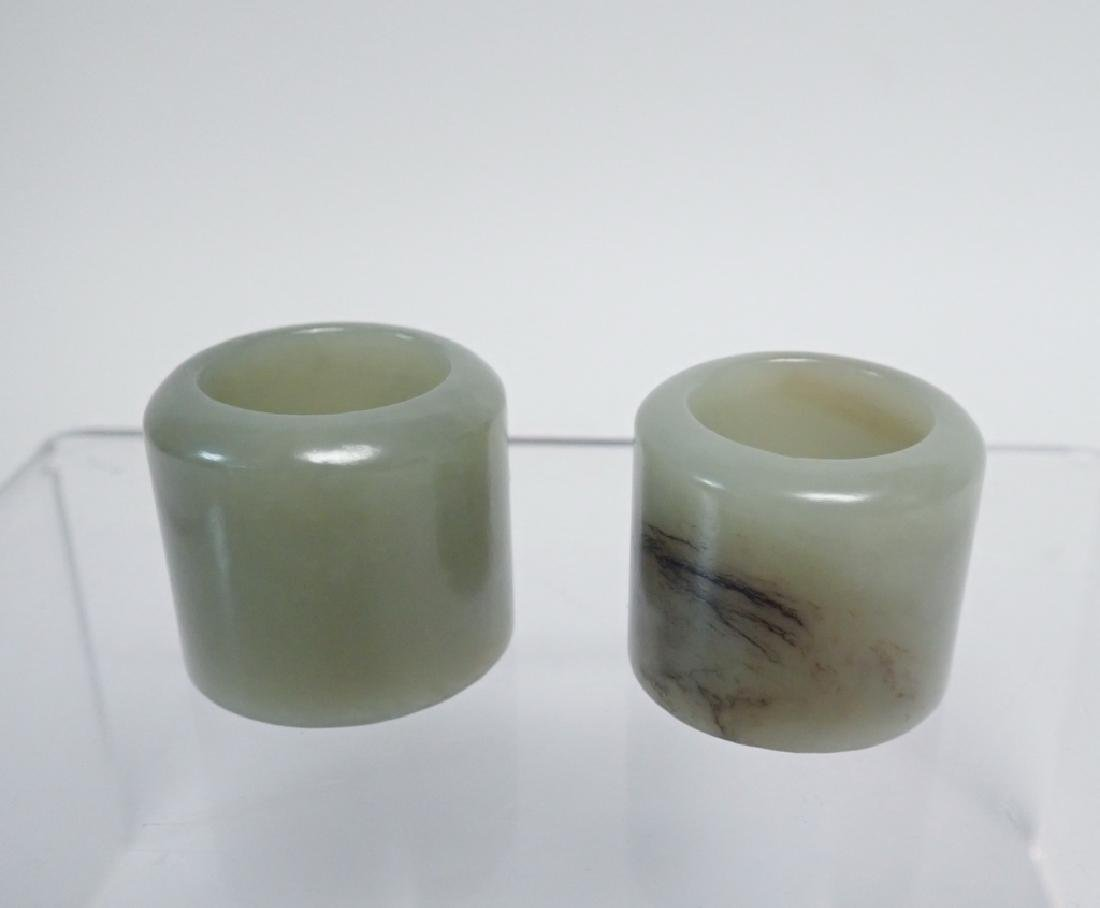 Pair of Chinese Jade Archer's Rings