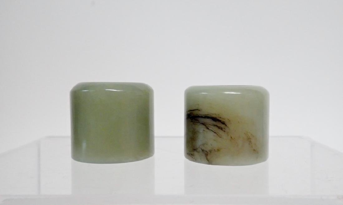 Pair of Chinese Jade Archer's Rings - 2