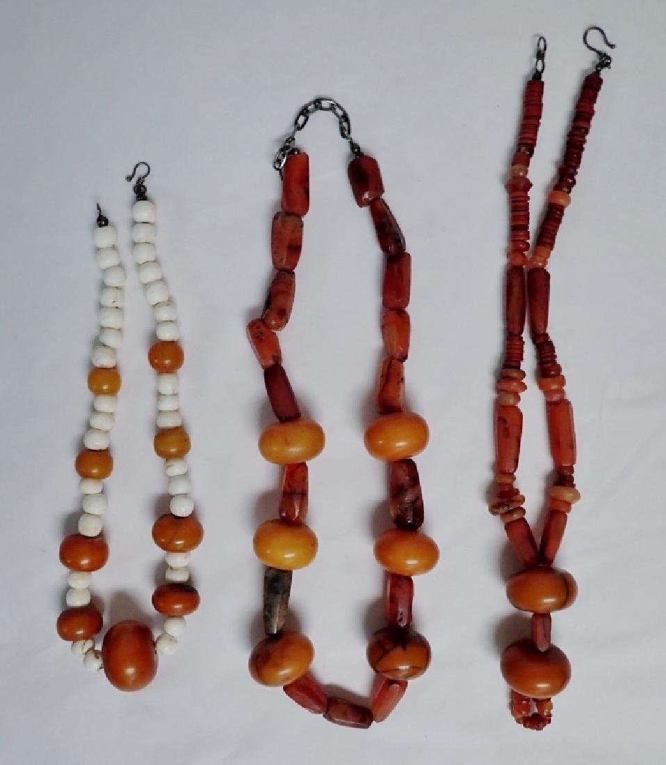 3 Chinese Amber & Stone Statement Necklaces