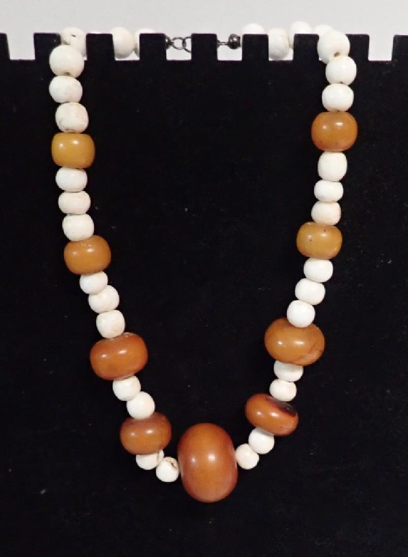 3 Chinese Amber & Stone Statement Necklaces - 3