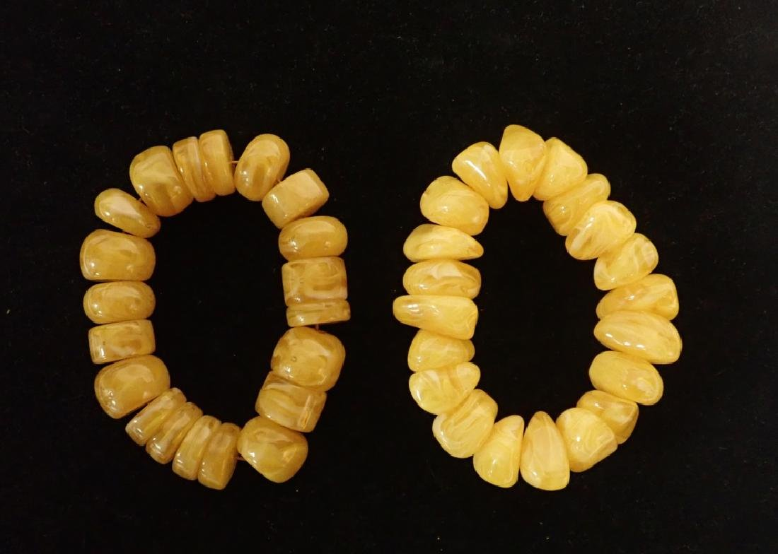 Pair of Chinese Butterscotch Amber Bracelets