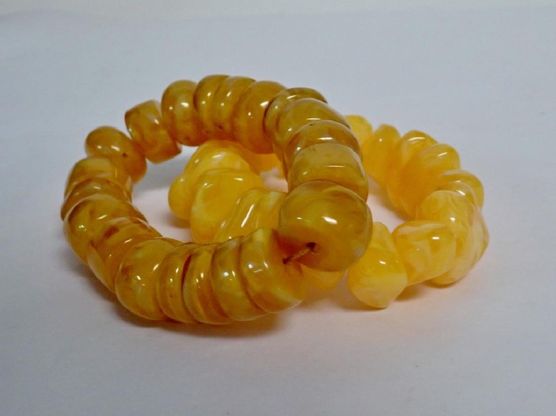Pair of Chinese Butterscotch Amber Bracelets - 2