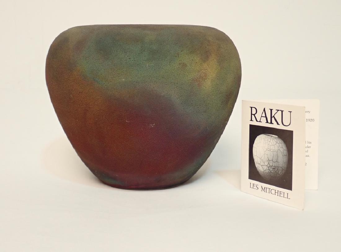Les Mitchell Raku Ceramic Pottery Vase