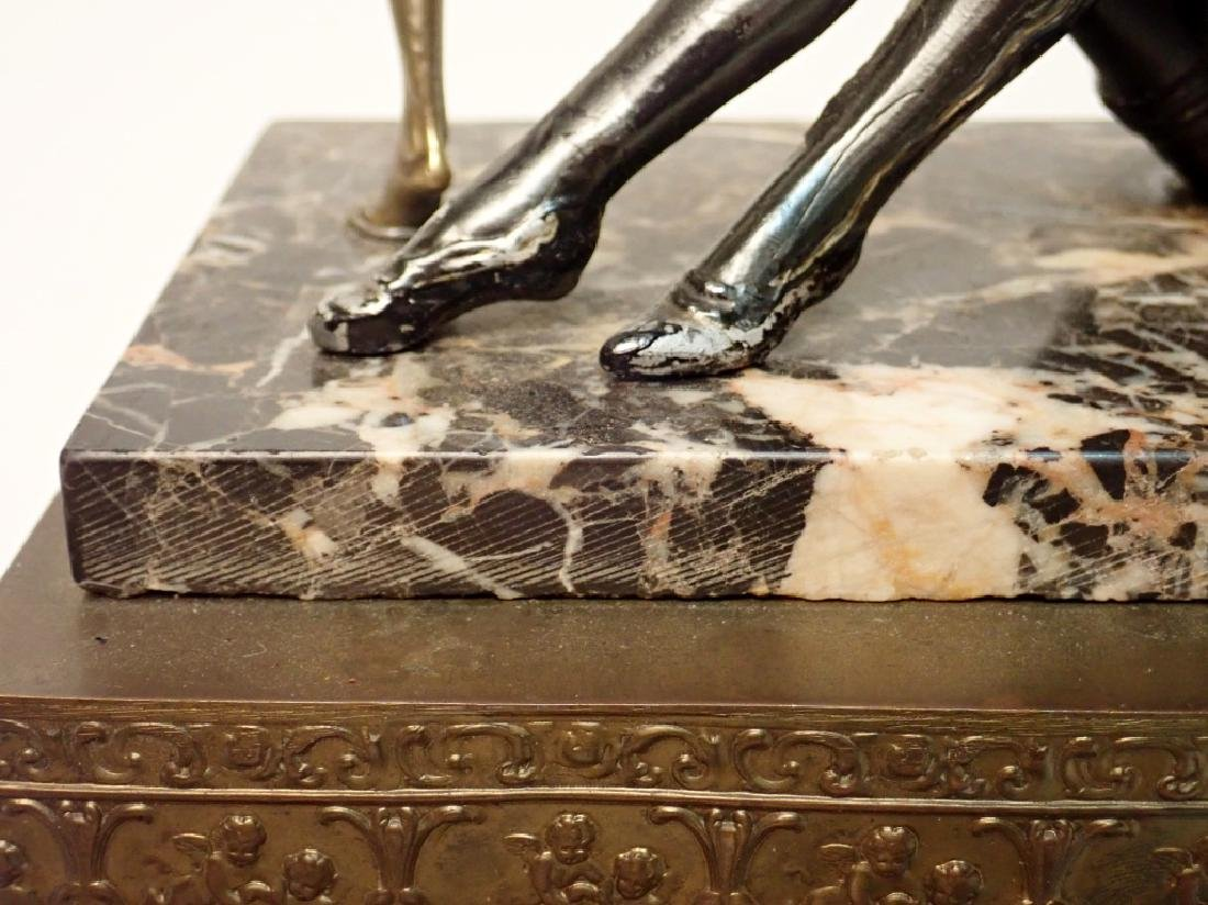 Painted Cast Metal Figures on Marble and Brass - 10
