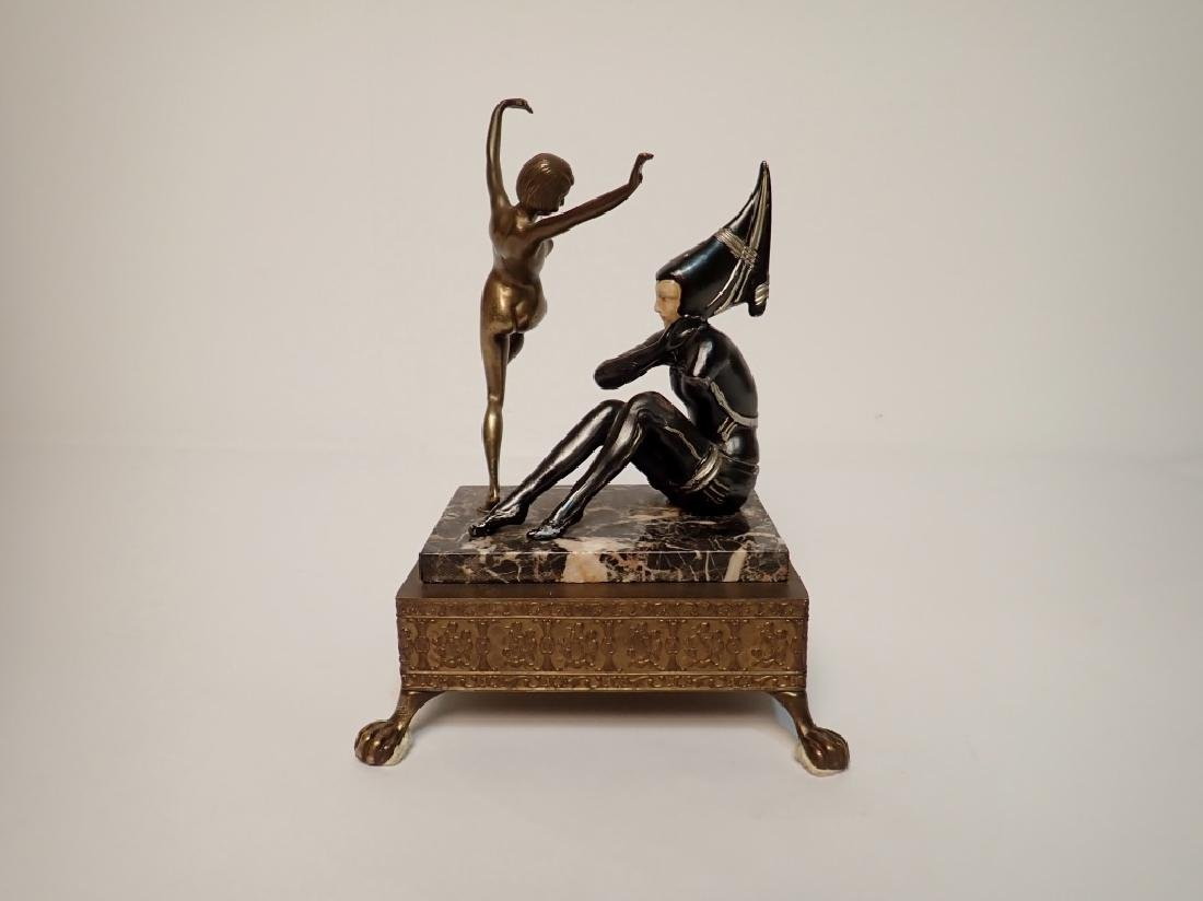 Painted Cast Metal Figures on Marble and Brass - 3