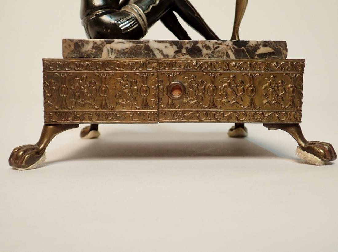 Painted Cast Metal Figures on Marble and Brass - 6