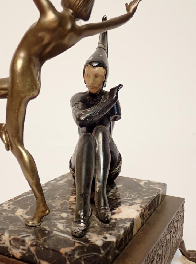 Painted Cast Metal Figures on Marble and Brass - 8