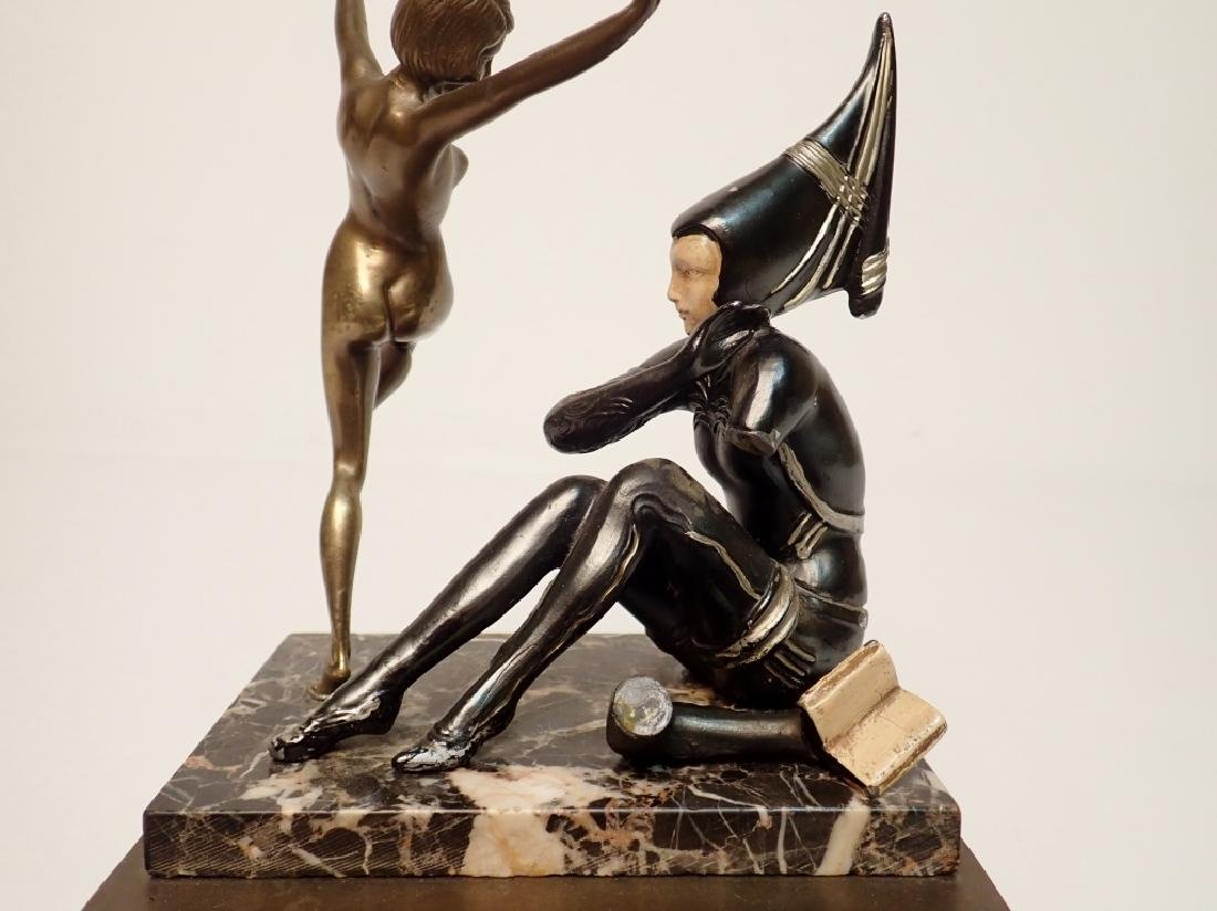 Painted Cast Metal Figures on Marble and Brass - 9