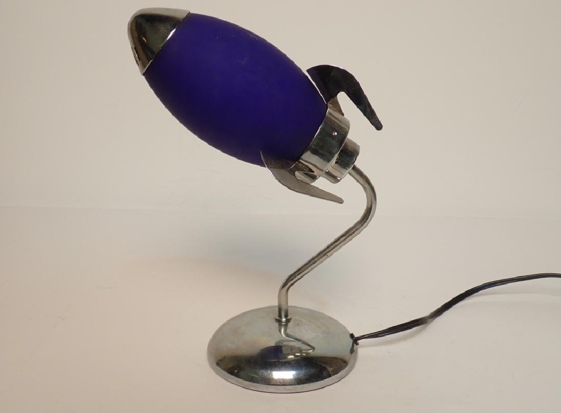 Chrome Desk Lamp with Purple Glass Shade