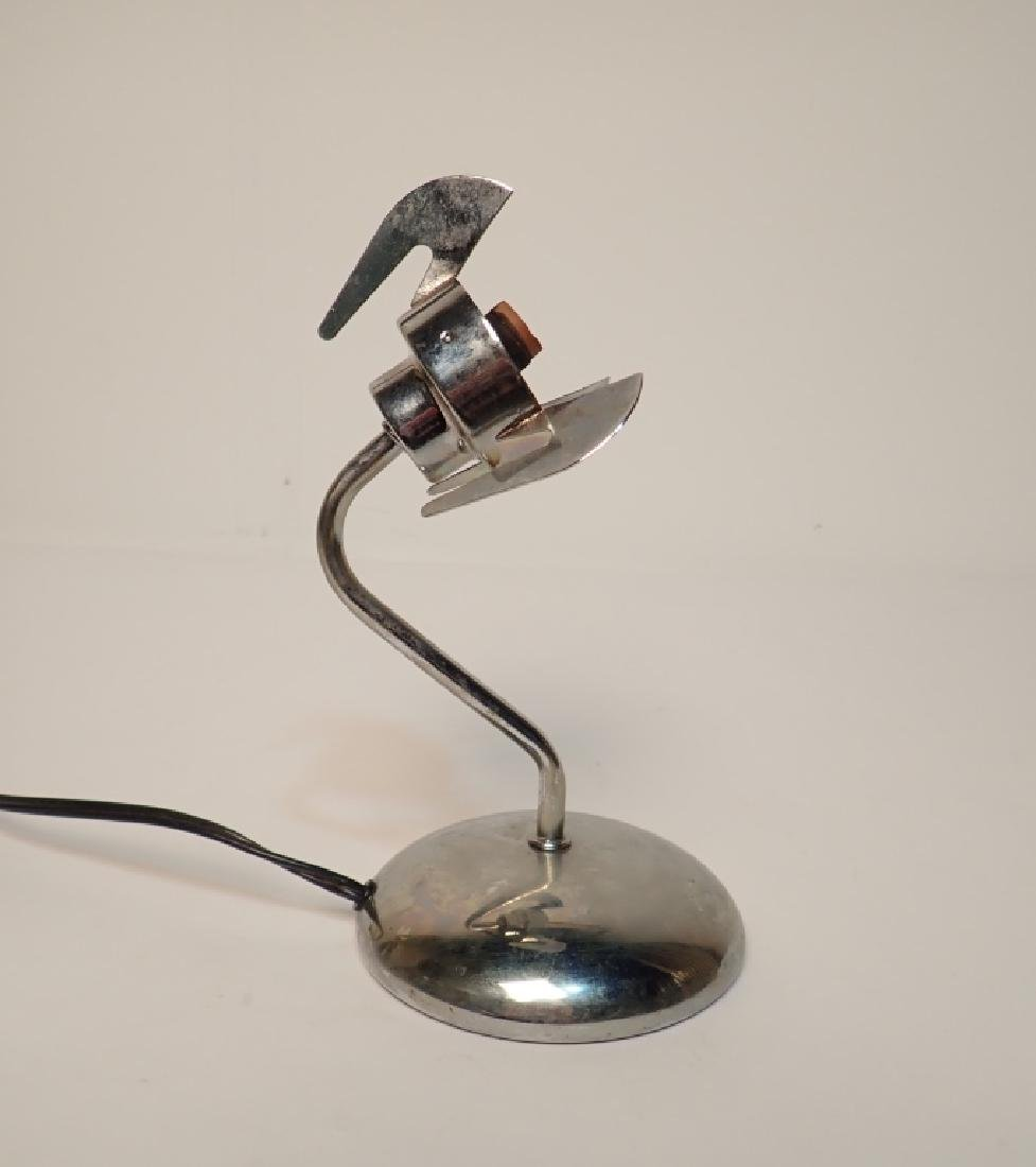 Chrome Desk Lamp with Purple Glass Shade - 3
