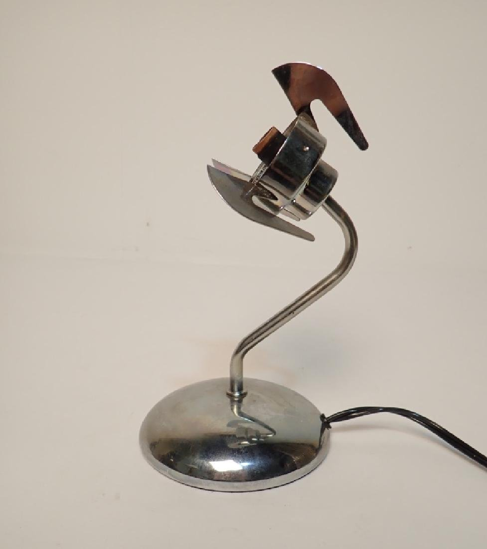 Chrome Desk Lamp with Purple Glass Shade - 4