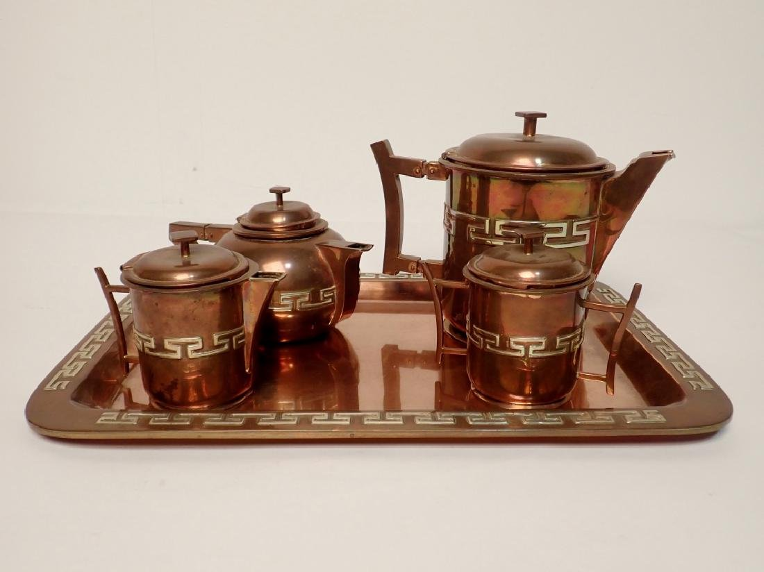 Los Castillo Taxco Metal Ware Tea Set with Tray