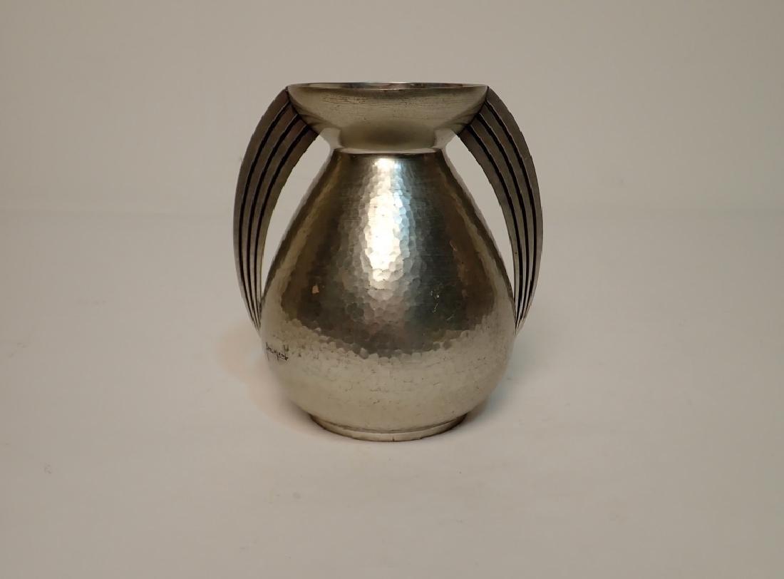 Rene Delavan Art Deco Pewter Dinanderie Vase - 3