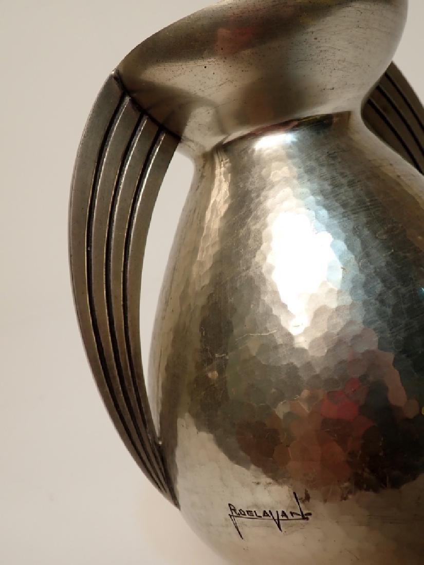 Rene Delavan Art Deco Pewter Dinanderie Vase - 8