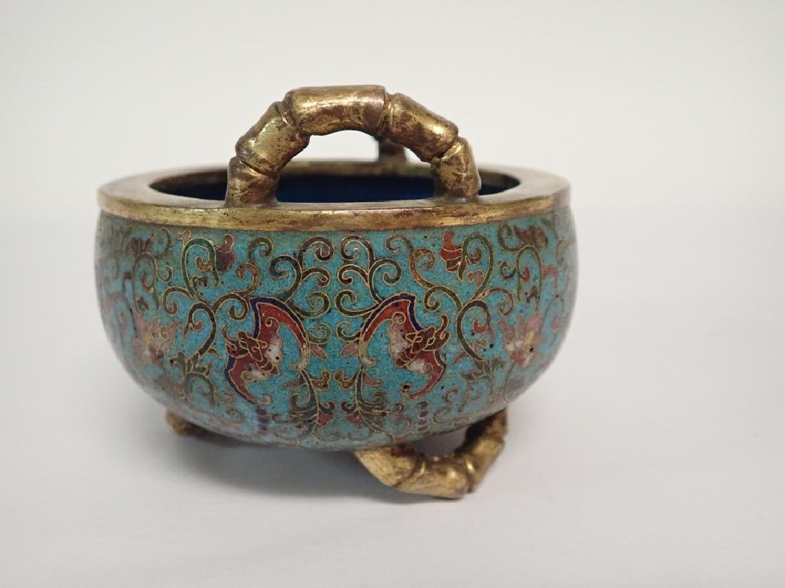 Chinese Cloisonne & Bronze Censer - 3