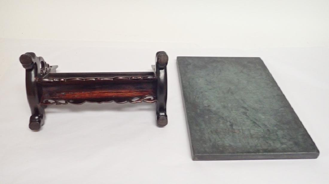 Chinese Calligraphy Plaque with Rosewood Stand - 6