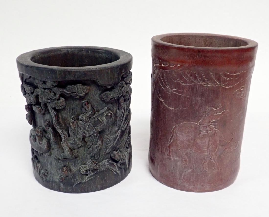Pair of Chinese Carved Wood Brush Pots