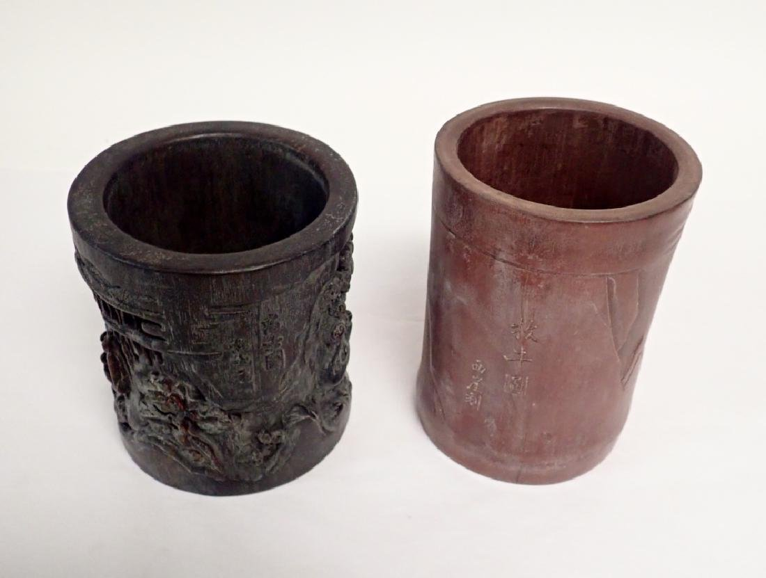 Pair of Chinese Carved Wood Brush Pots - 2