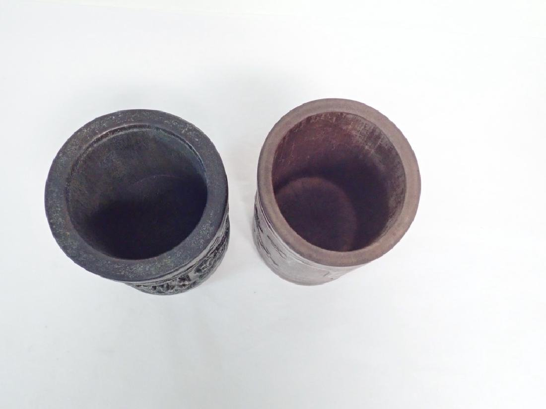 Pair of Chinese Carved Wood Brush Pots - 4