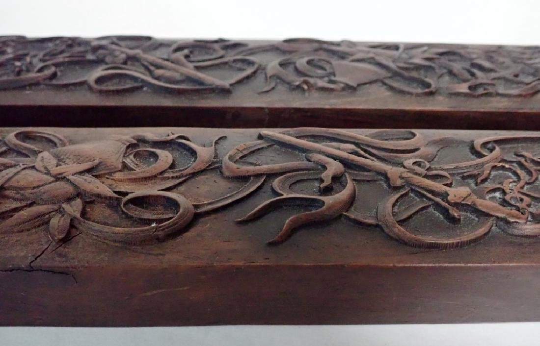 Pair of Chinese Hardwood Scroll Weights - 3