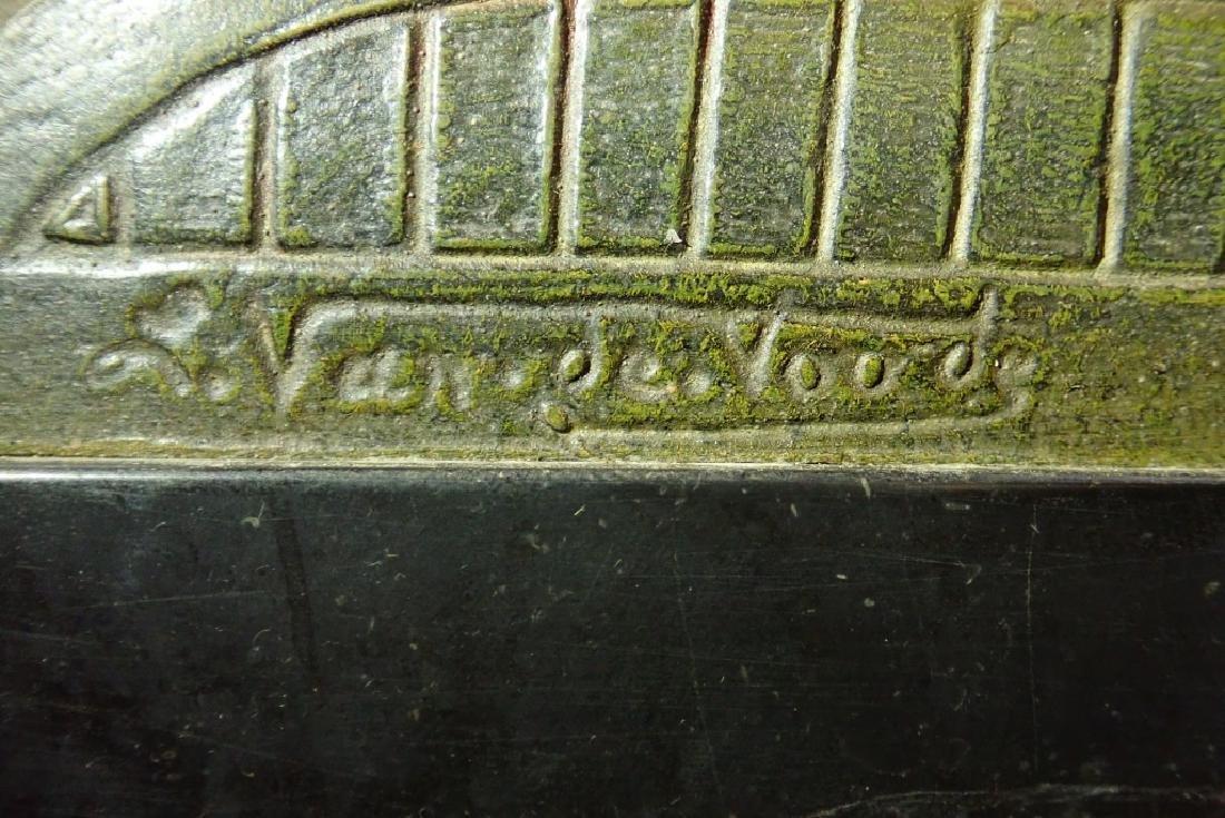 Art Deco Bronze/Marble Clock Signed Van De Voorde - 10