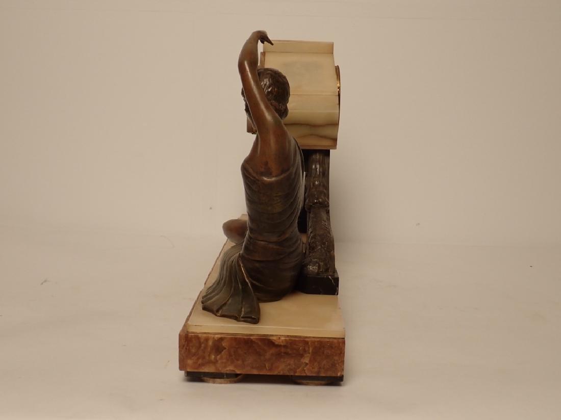 Art Deco Bronze/Marble Clock Signed Van De Voorde - 2