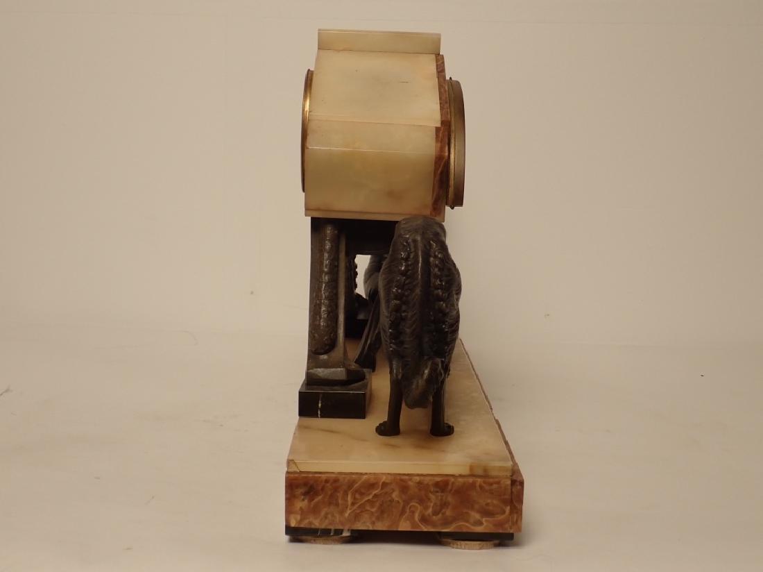 Art Deco Bronze/Marble Clock Signed Van De Voorde - 4