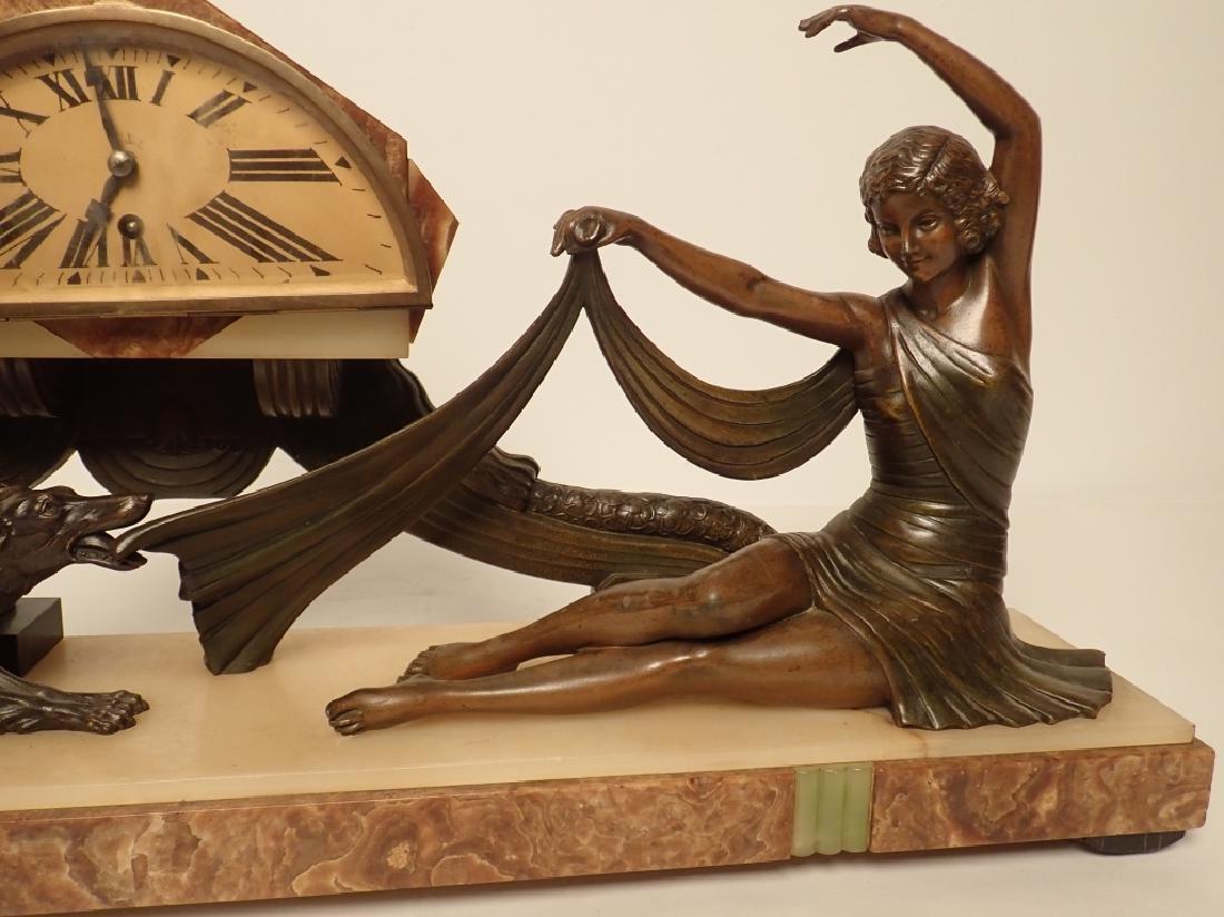 Art Deco Bronze/Marble Clock Signed Van De Voorde - 7