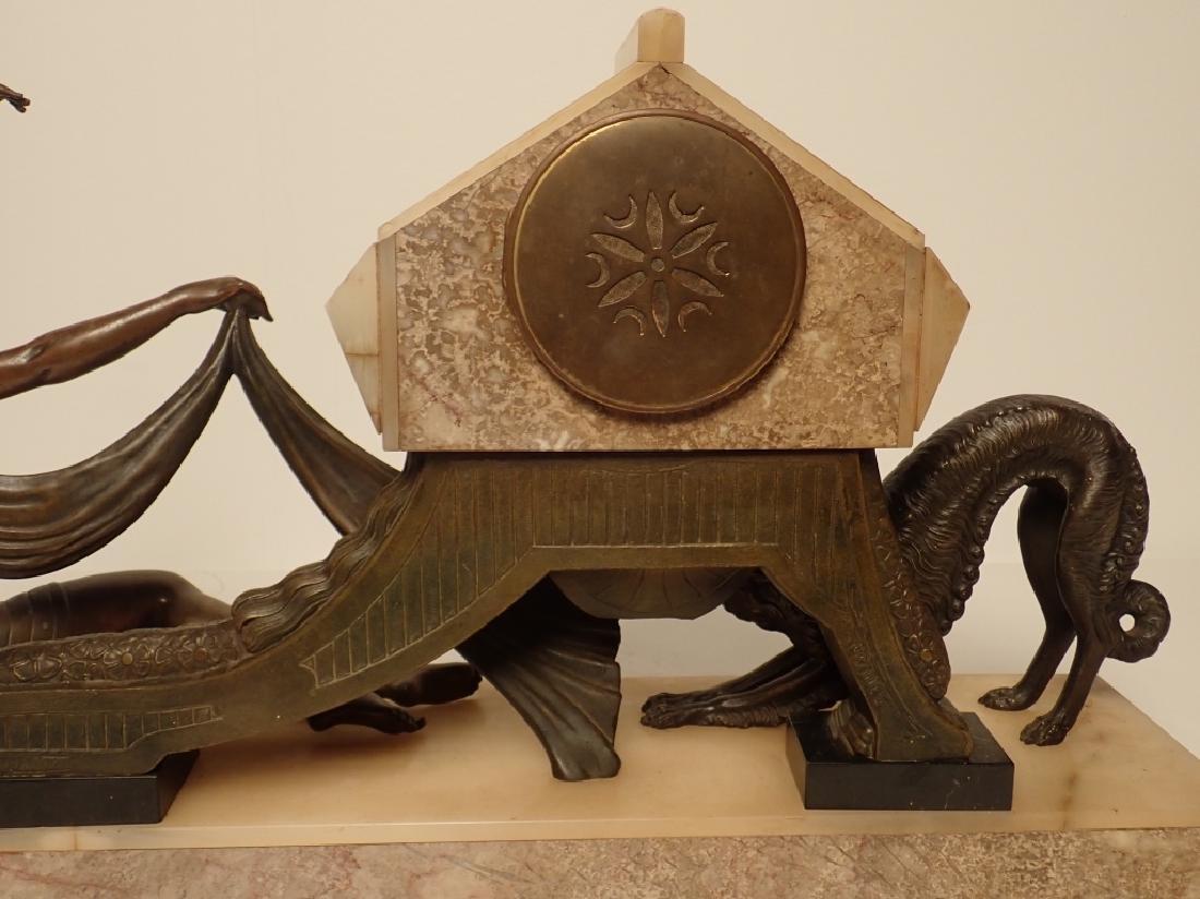Art Deco Bronze/Marble Clock Signed Van De Voorde - 8