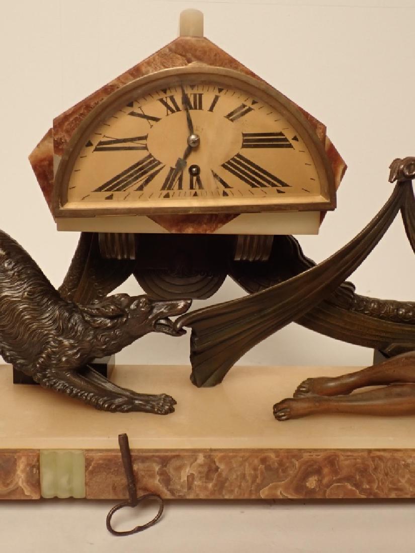Art Deco Bronze/Marble Clock Signed Van De Voorde - 9
