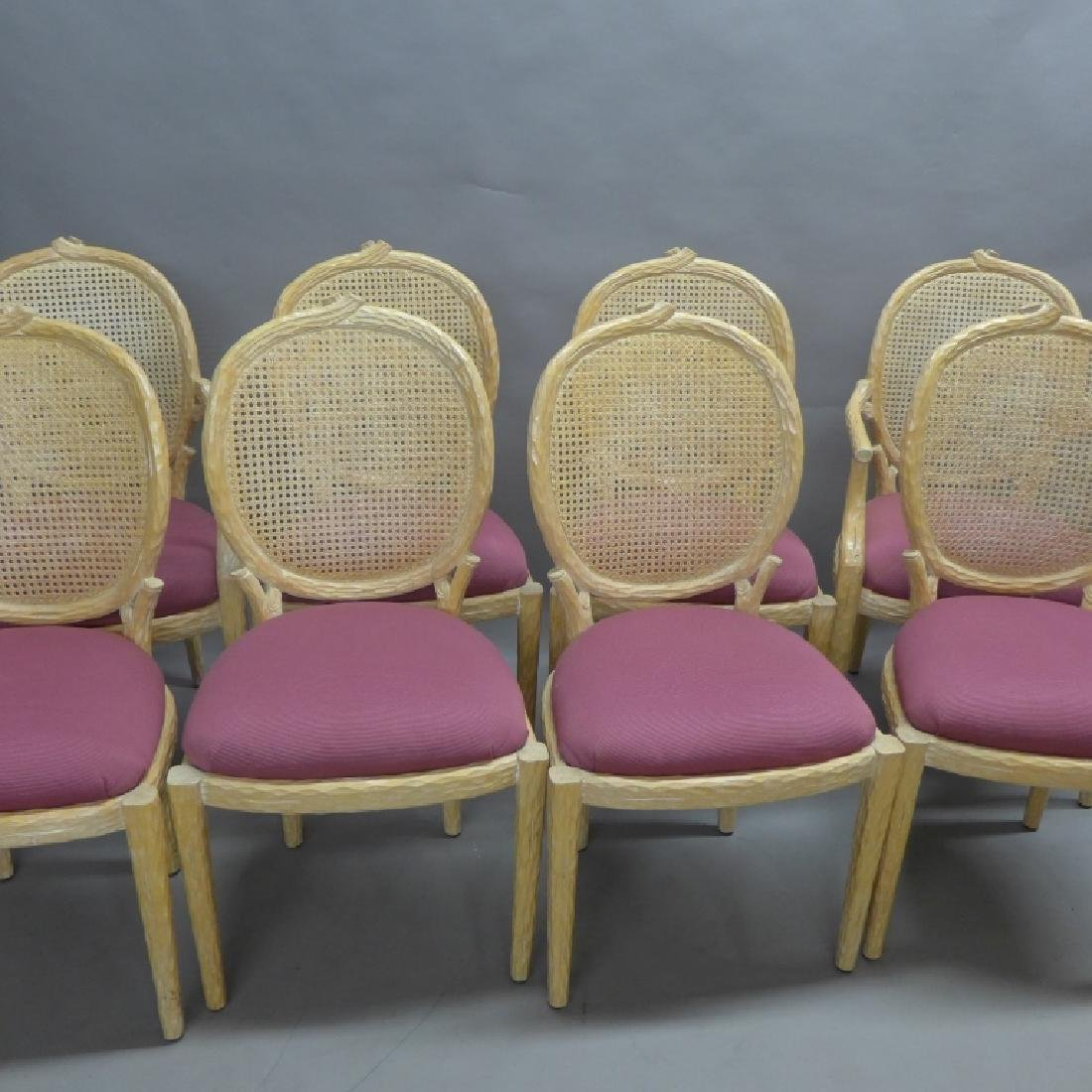 Set of 8 Carved Faux Bois Dining Chairs - 8