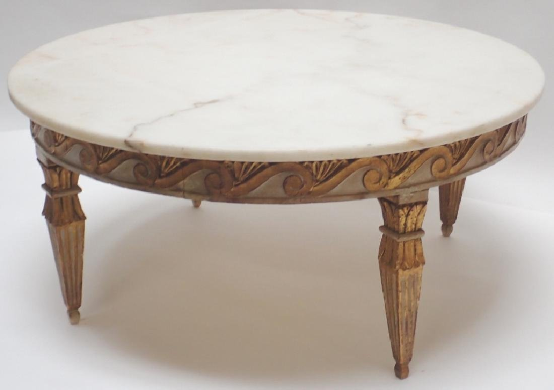 Round Marble Top Low Table