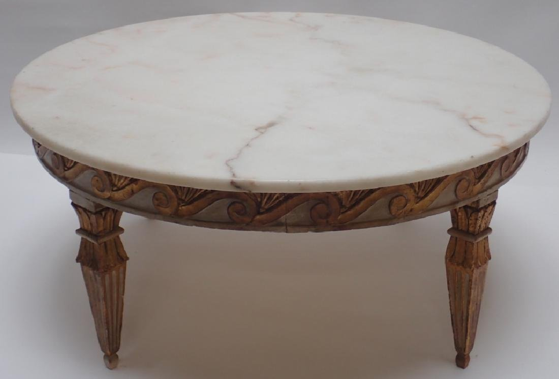 Round Marble Top Low Table - 3