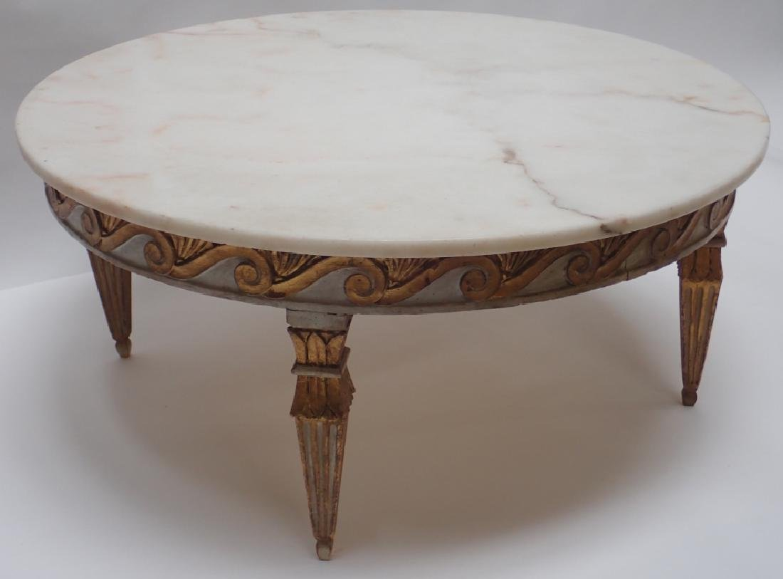 Round Marble Top Low Table - 4