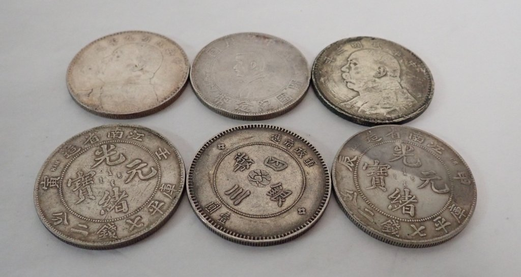 Six Chinese Silver Dollar Coins - 9