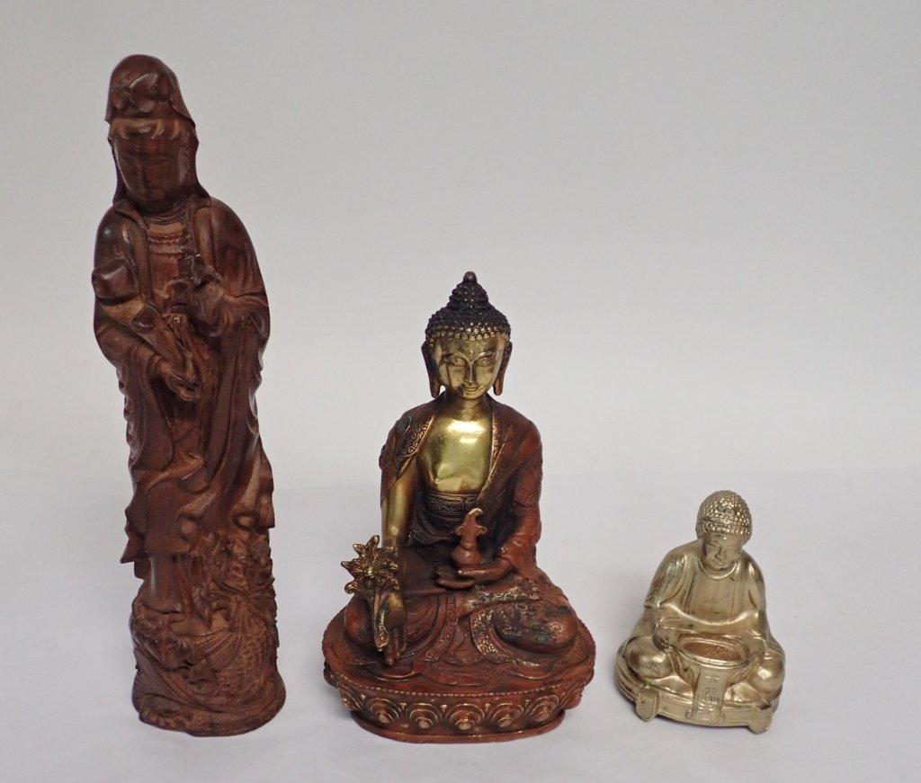 Selection of Three Buddha & Deity Statues - 10