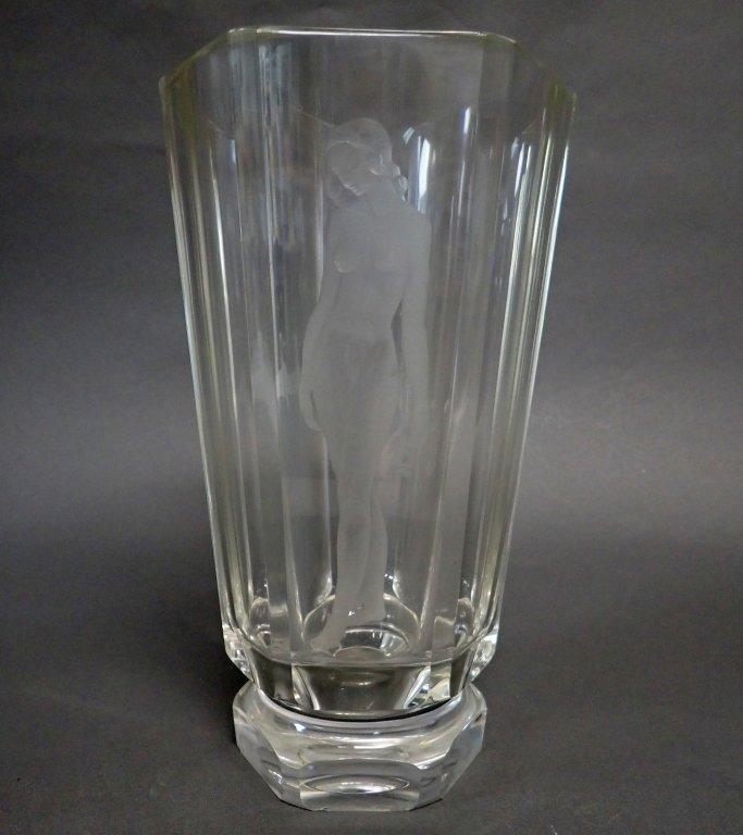 Hexagonal Art Glass Vase Signed Orrefors