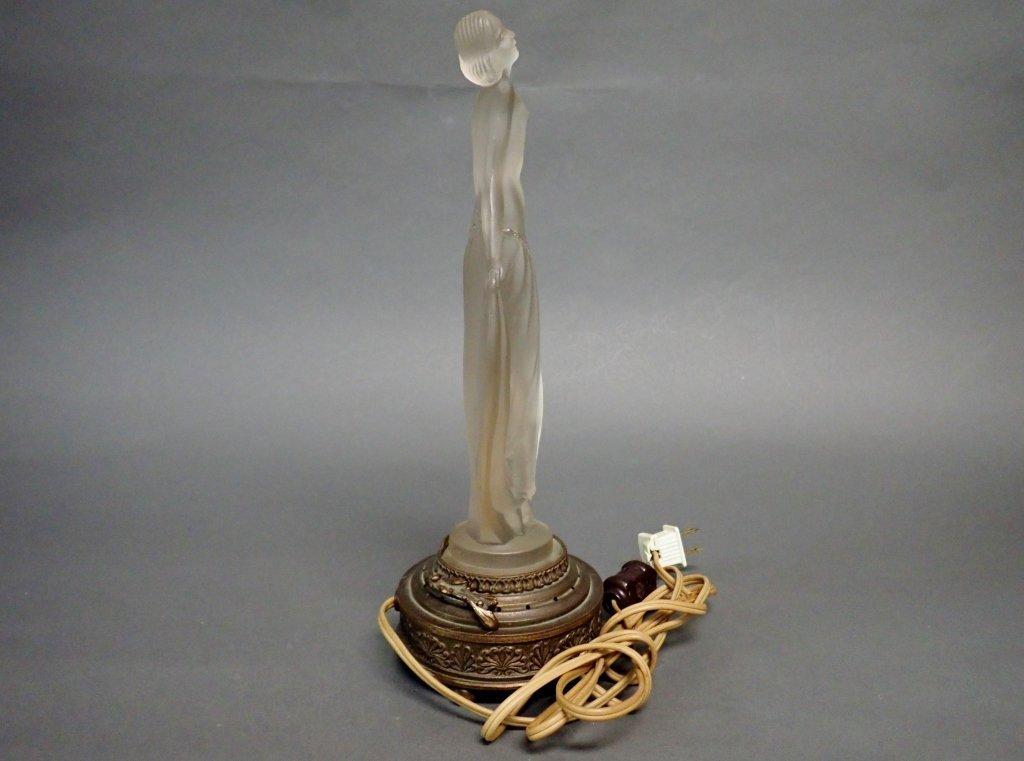 Bronze Base Art Glass Lamp Signed Etling - 4