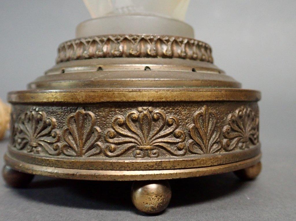 Bronze Base Art Glass Lamp Signed Etling - 5