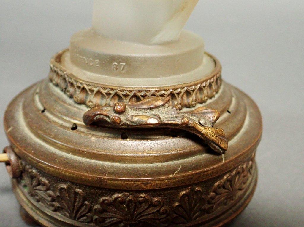 Bronze Base Art Glass Lamp Signed Etling - 6