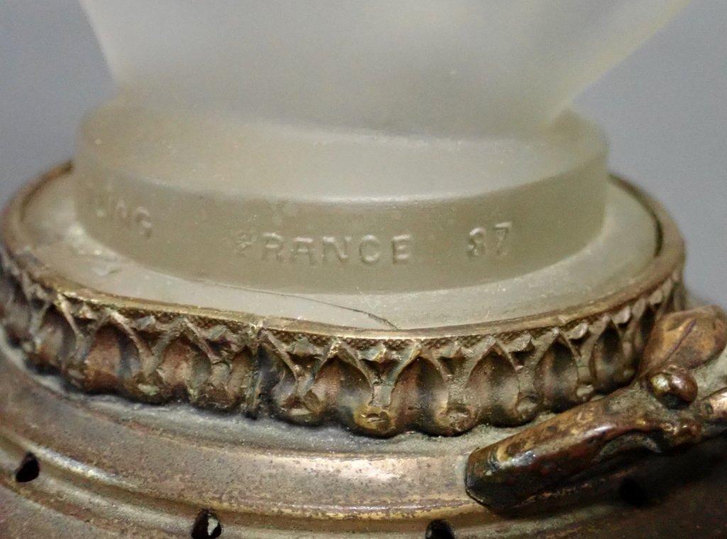Bronze Base Art Glass Lamp Signed Etling - 8