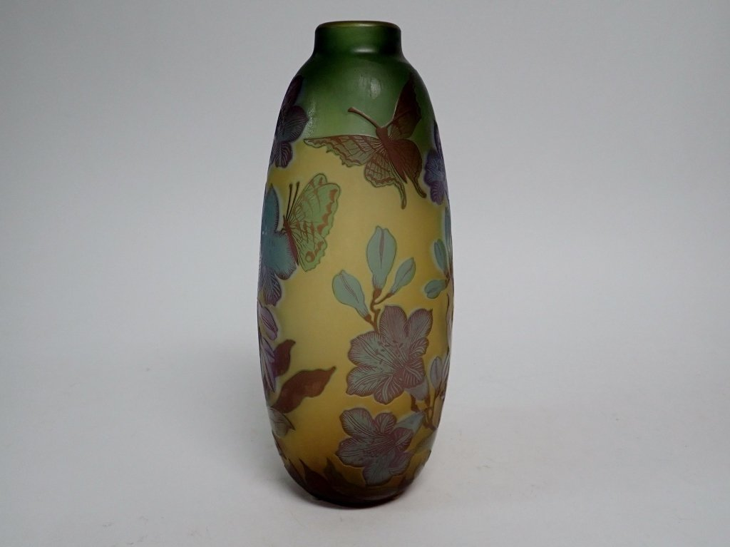Cameo Glass Style Vase Signed M.D. Mann - 3