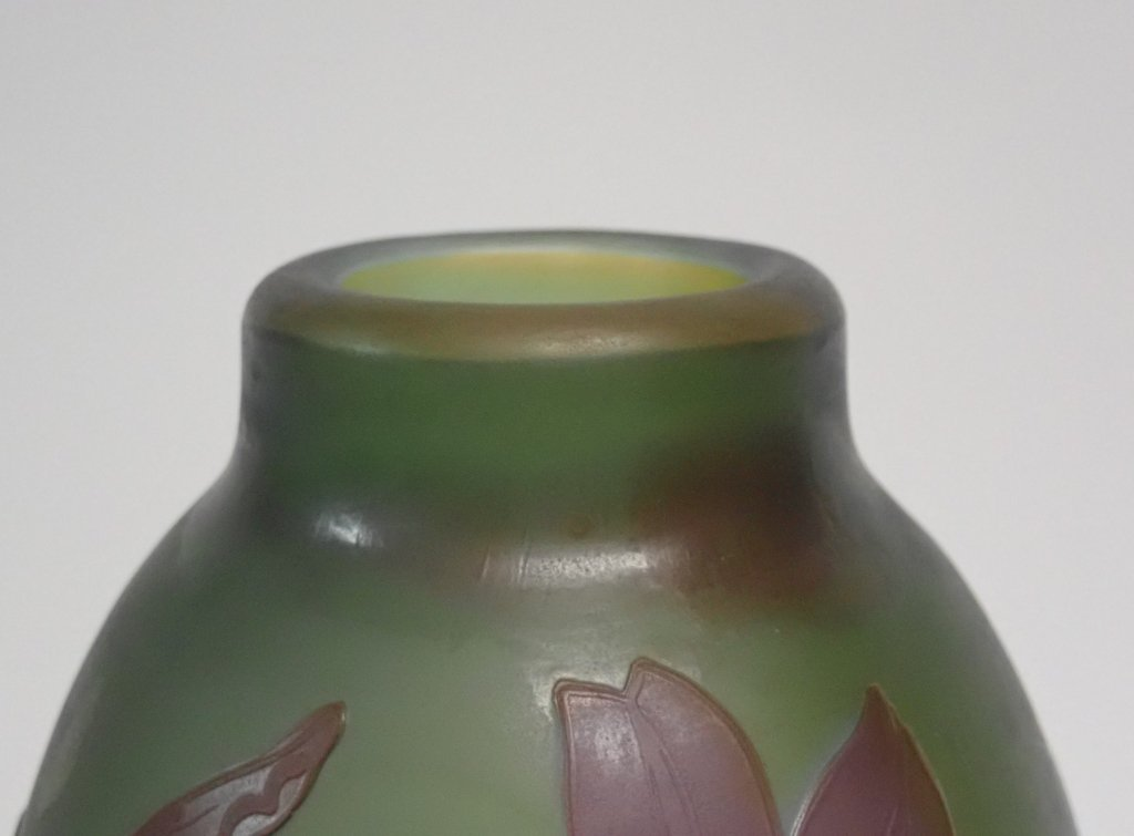 Cameo Glass Style Vase Signed M.D. Mann - 5