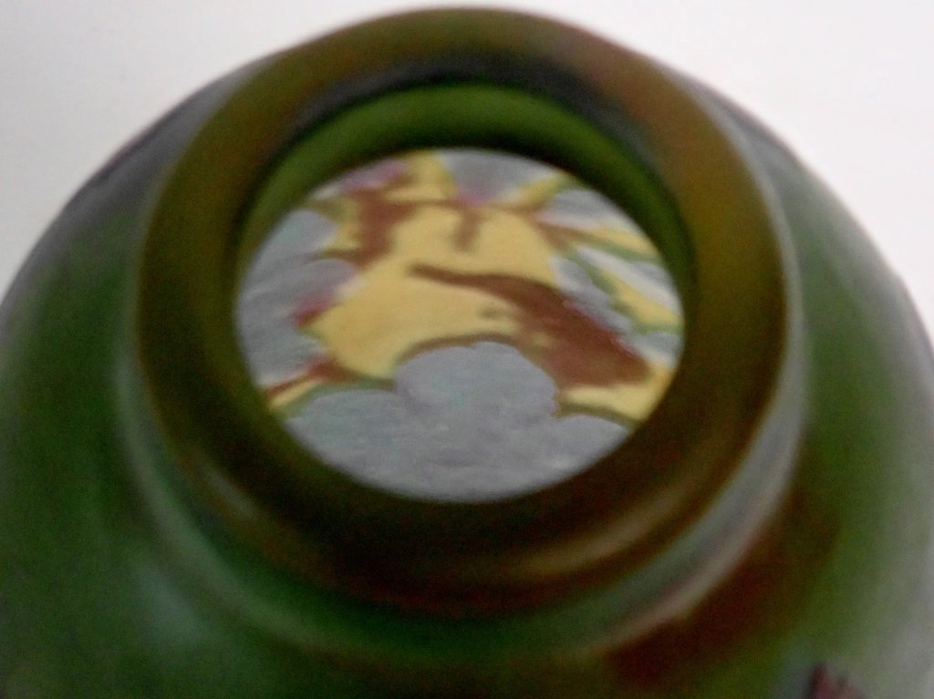 Cameo Glass Style Vase Signed M.D. Mann - 6